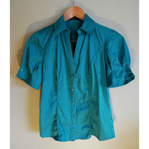 Teal button down collared shirt with puff sleeves